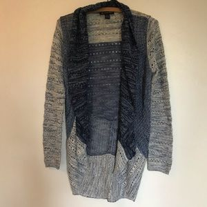 I.N.C blue&gray striped knitted cardigan
